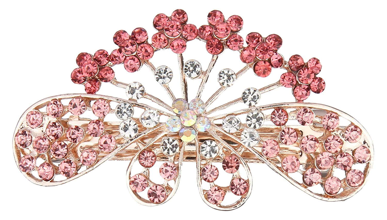 Fashion Women Pink Gold Butterfly Hair Barrette Clip