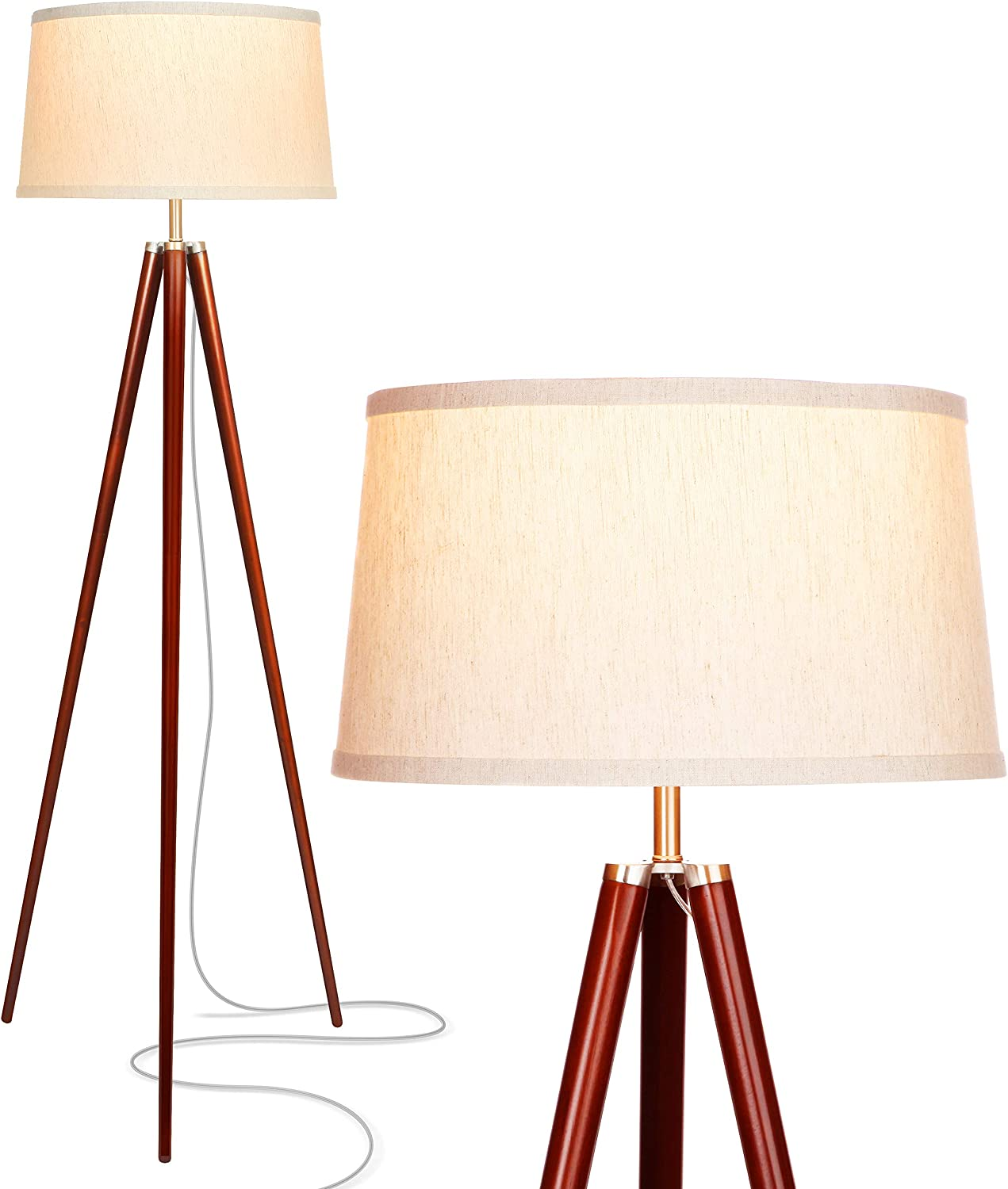 Brightech Emma LED Tripod Floor Lamp Mid Century Modern Standing Light for Contemporary Living Rooms – Tall Survey Lamp with Wood Legs for Bedroom, Office – Walnut Brown