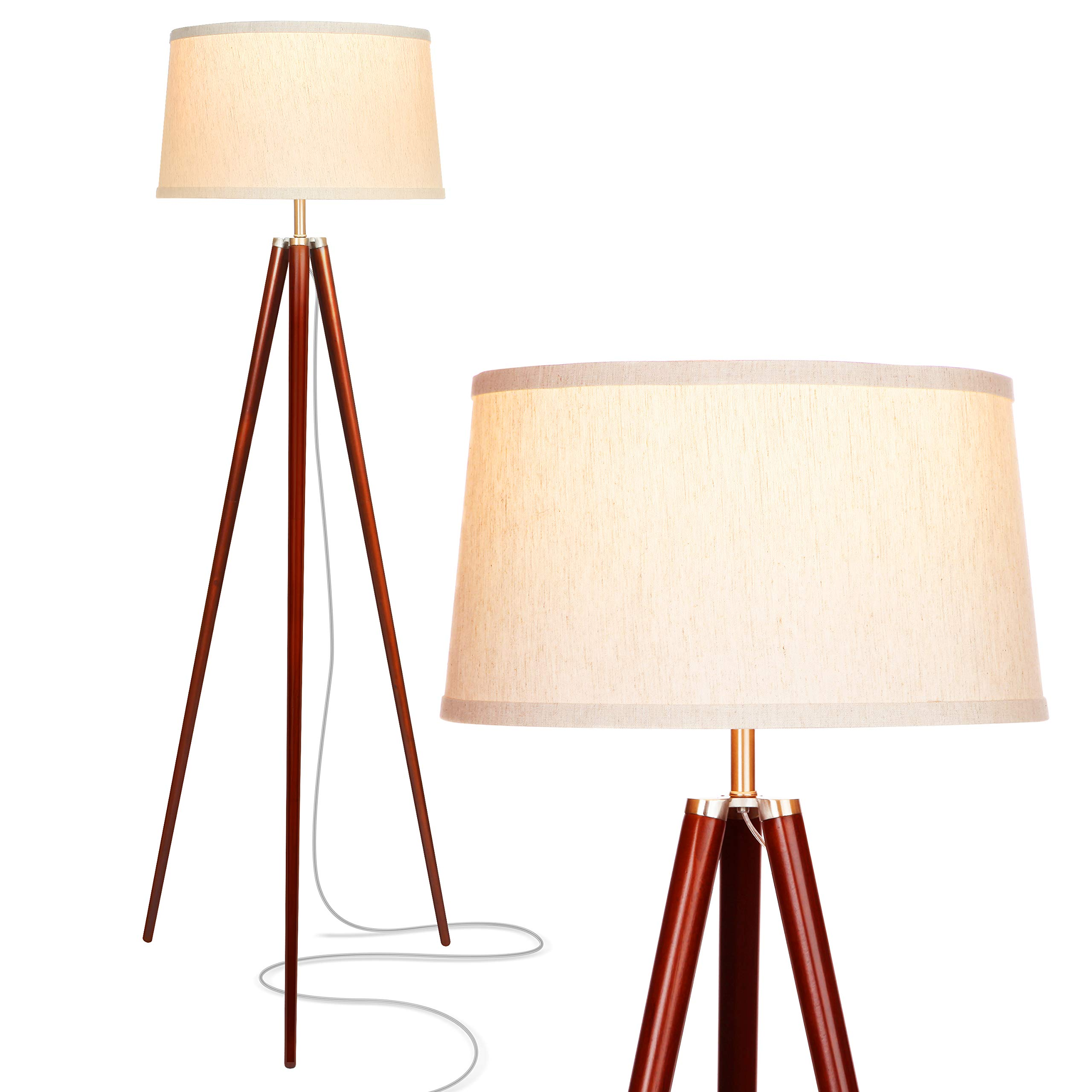Brightech Emma LED Tripod Floor Lamp - Mid Century Modern Standing Light for Contemporary Living Rooms - Tall Survey Lamp with Wood Legs for Bedroom, Office - Walnut Brown