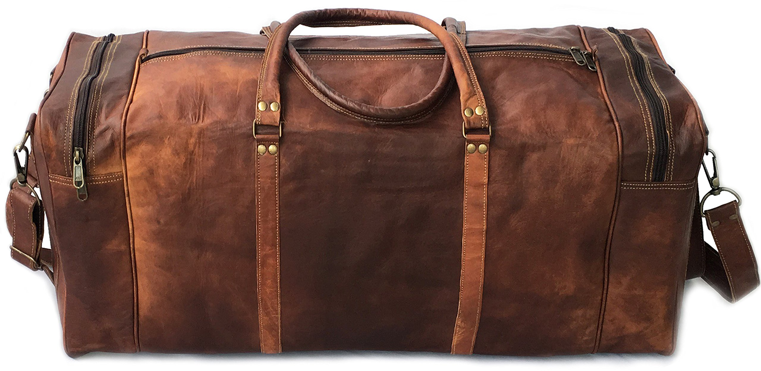 28'' Inch Real Goat Vintage Leather Large Handmade Travel Luggage Bags in Square Big Large Brown bag Carry On By KK's leather by cuero (Image #4)