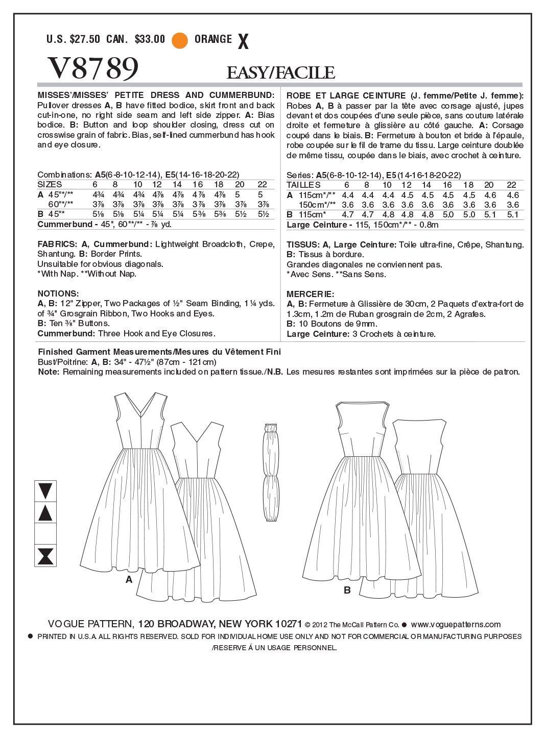Vogue Patterns V8789 - Patrones de costura para vestidos con fajín ...