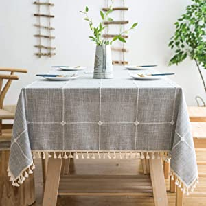 "MoMA Rustic Lattice Tablecloth (55""x70"") Cotton Linen Grey Rectangle Table Cloths for Kitchen Dining"