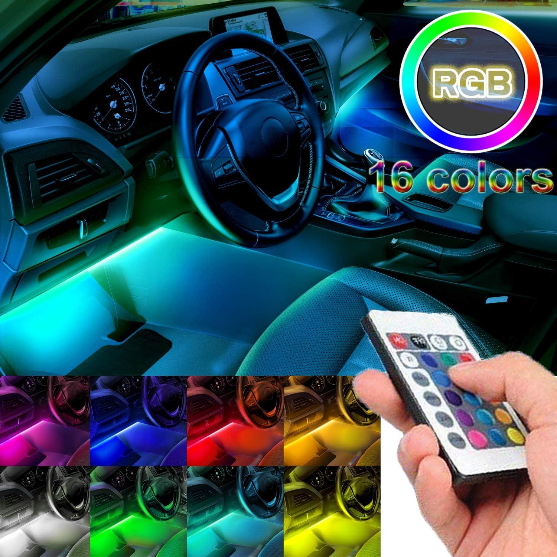 RGB 48 LED Car Atmosphere Interior Light Kit Wireless Phone APP Music Control