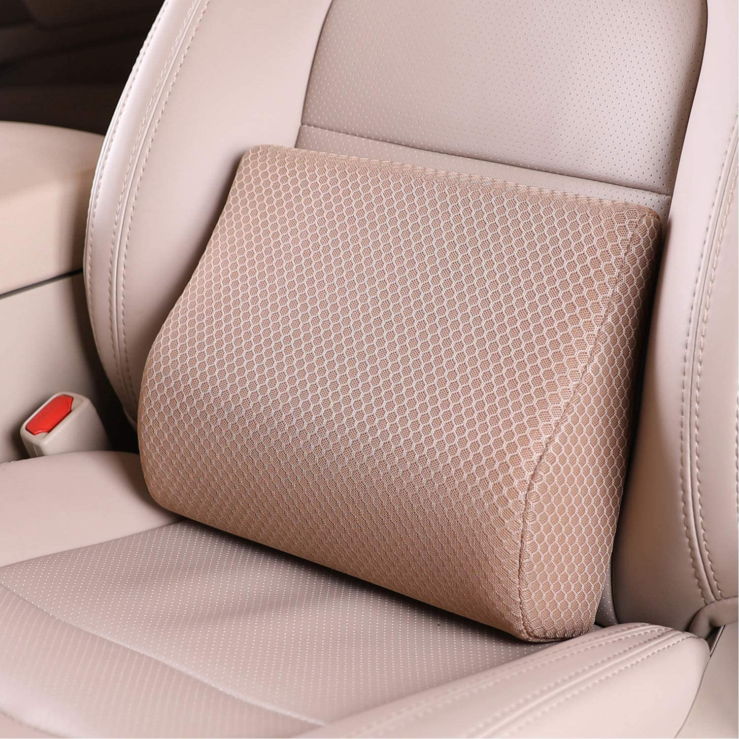 TISHIJIE Memory Foam Lumbar Support Pillow for Car - Mid/Lower Back Support Cushion - for Car Seat, Office Chair, Recliner Etc. (Beige)
