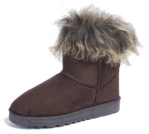 AgeeMi Shoes Mujeres Invierno Nieve Botas Pelo Largo Bota Clásicas Botines,EuX10 Amarillo 36