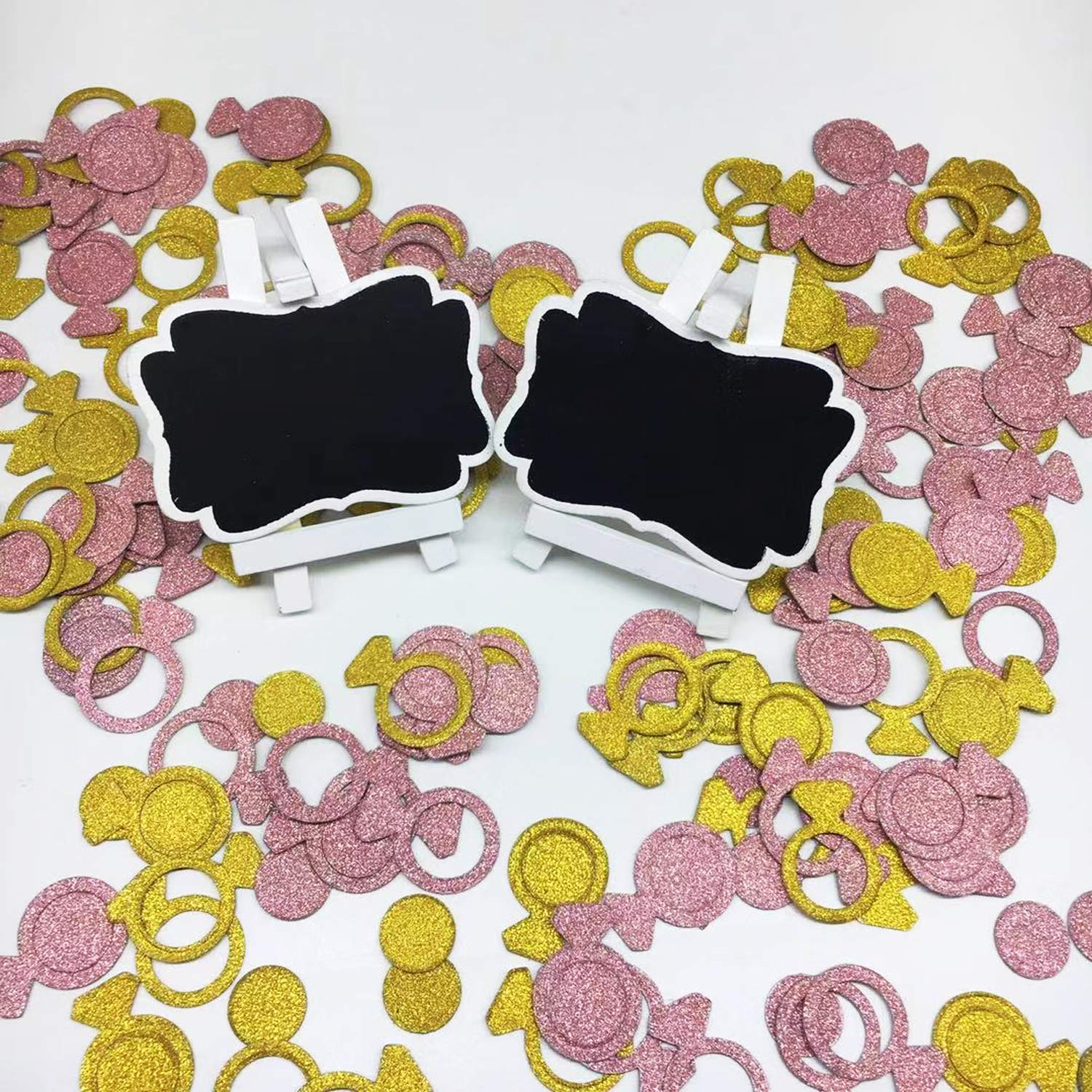 Rose Gold and Gold, Ring and Circle Rose Gold Ring Confetti Engagement Decorations Wedding Party Supplies Seasonsky 240 PCS Rose Gold and Gold Circle Ring Bachelorette Confetti for Baby Shower