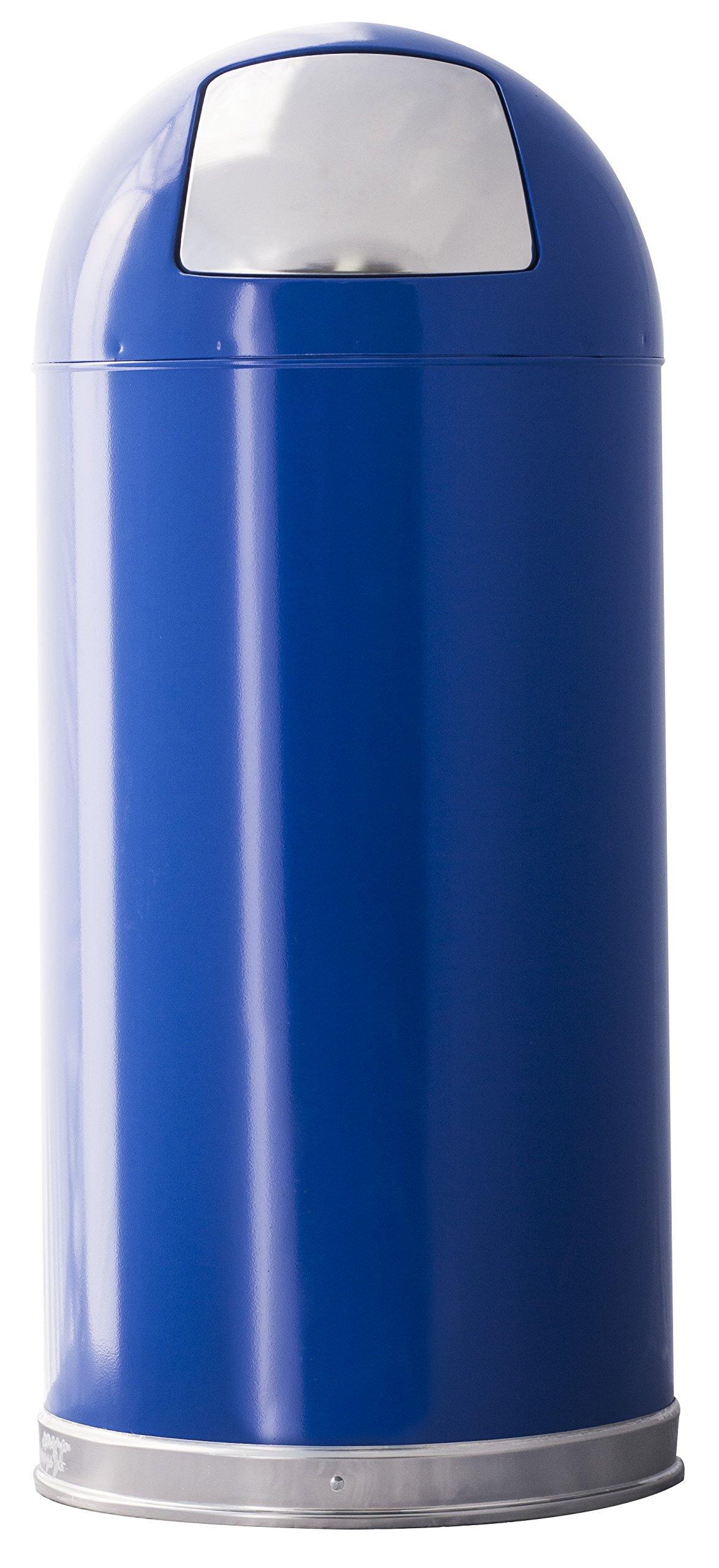Witt Industries 15DTBL Push Top Standard Receptacle, Steel, 15 gal, Blue