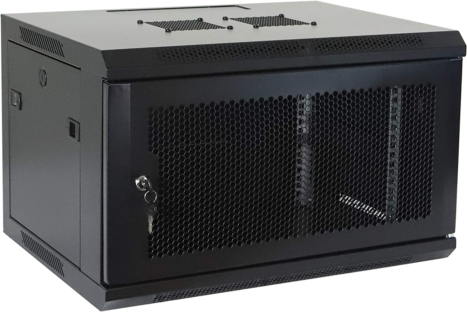 6U Professional Wall Mount Network Server Cabinet Enclosure 19-Inch Server Network Rack with Vented Door 16-Inches Deep Black (Fully Assembled)