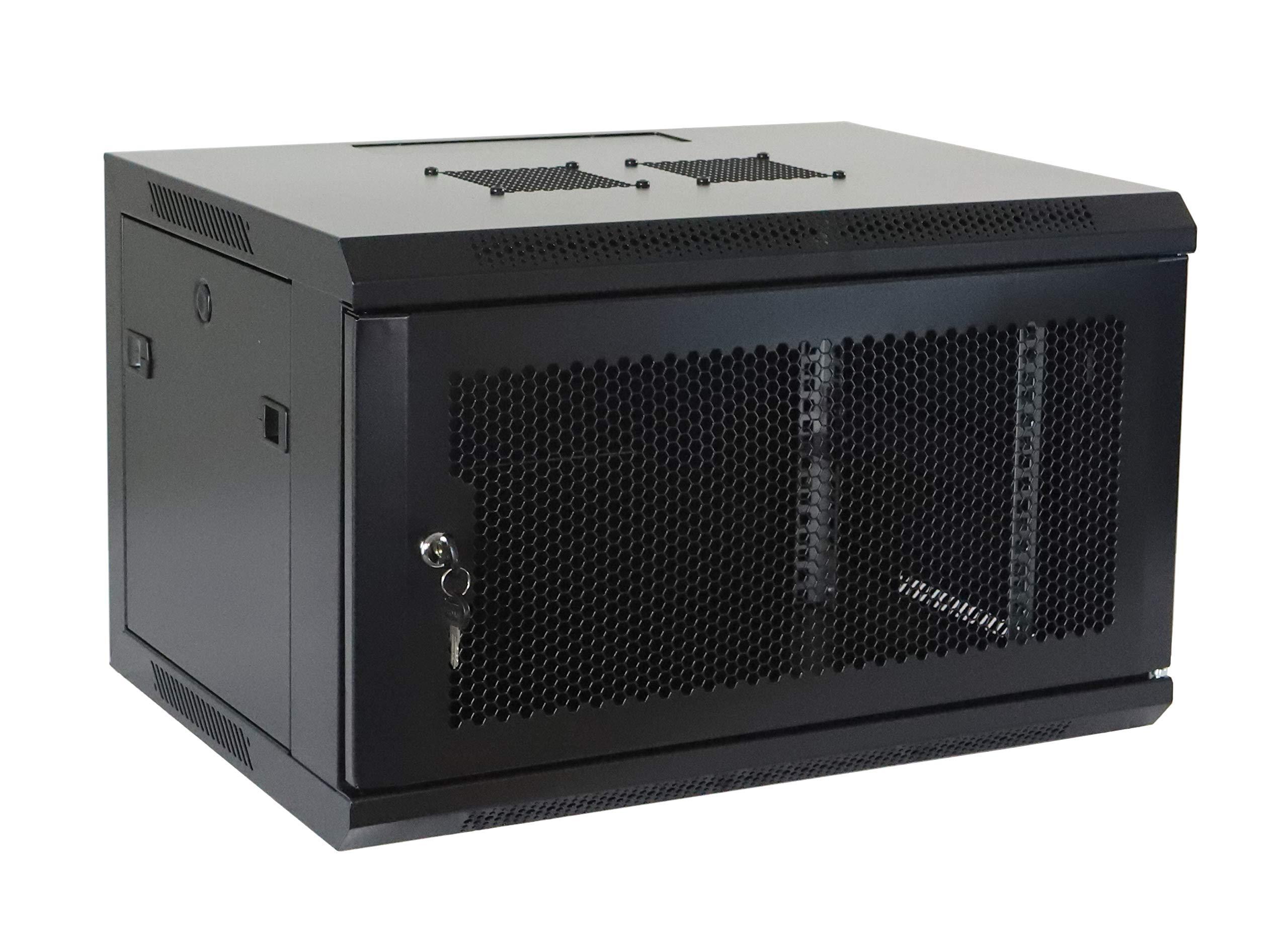 6U Professional Wall Mount Network Server Cabinet Enclosure 19-Inch Server Network Rack Black by AEONS