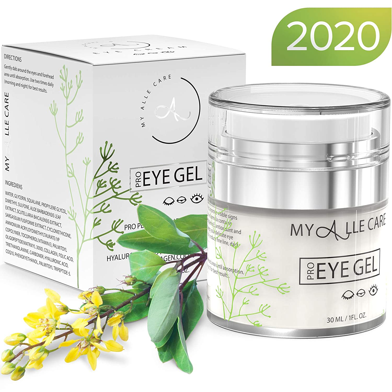 Eye Gel with Hyaluronic Acid, Reduce Dark Circles, Puffiness and Eye Bags. Anti Wrinkle Under Eye Treatment, Hydrating Gel with Collagen, Aloe and Vitamin E, Anti Aging Cream for Men & Women