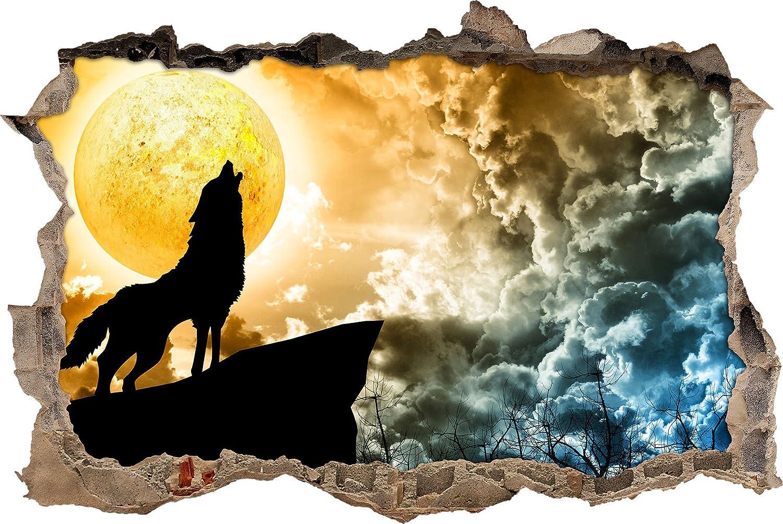 ululato del lupo con la luna incandescente muro passo avanti nel look 3D, parete o in formato adesivo porta: 62x42cm, autoadesivi della parete, autoadesivo della parete, decorazione della parete Stil.Zeit