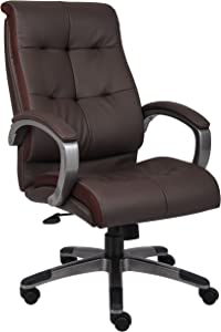 Boss Office Products Double Plush High Back Executive Chair in Brown
