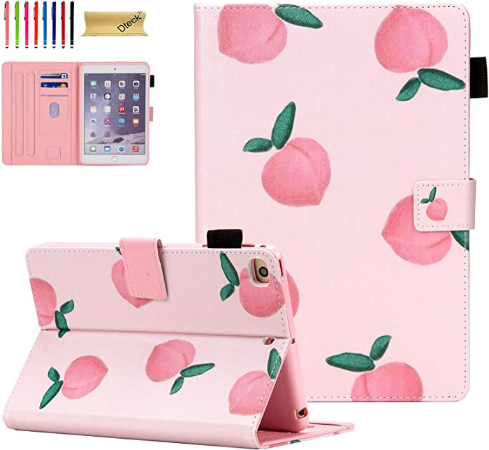 iPad Mini Case,iPad Mini 5/4 Case for Kids/Girls, Dteck Slim Leather Smart Kickstand Case Flip Wallet Protective Case Compatible with Apple iPad Mini 5/4/3/2/1, Peach