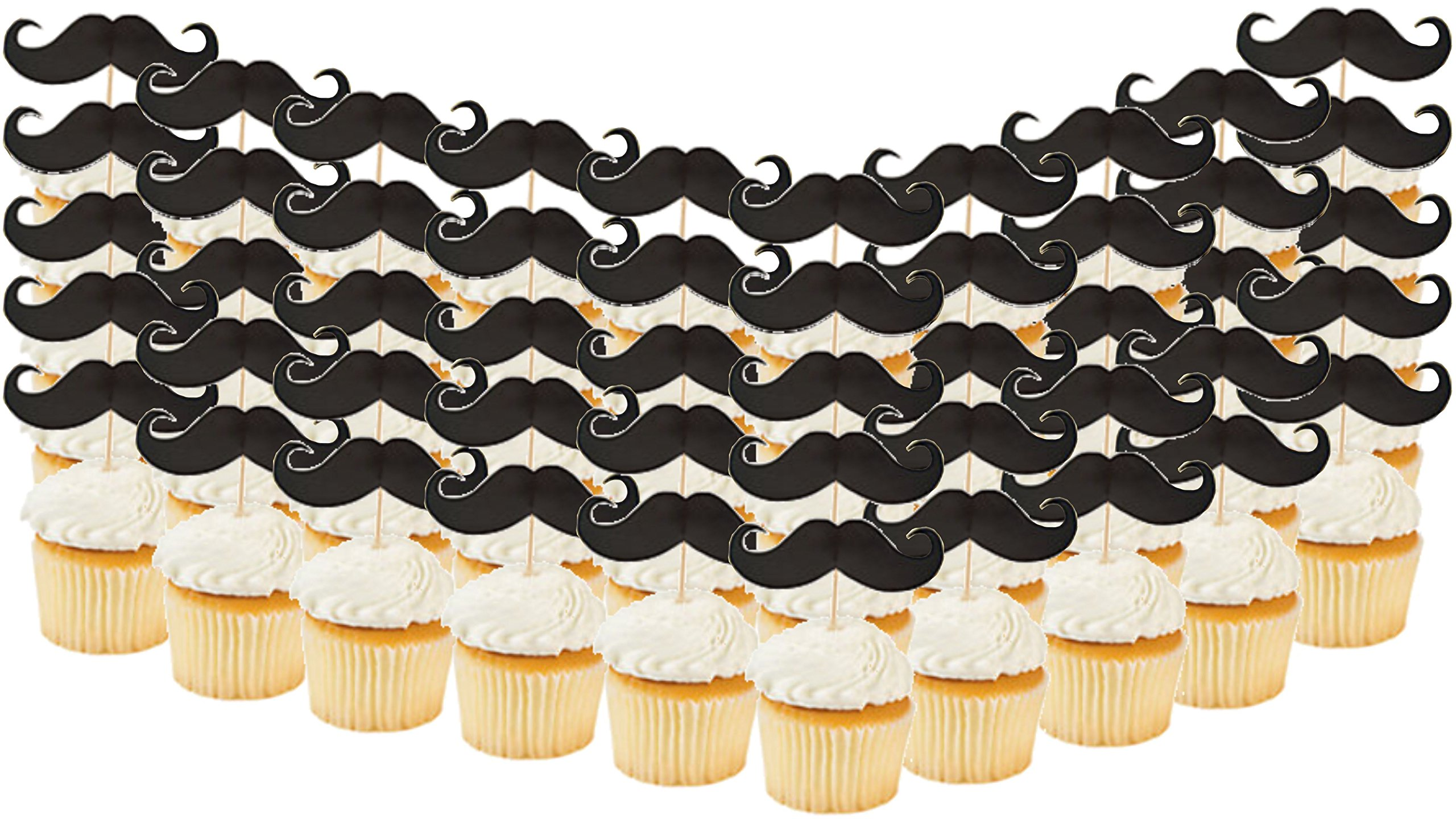 Mustache Baby Shower Birthday Party Supply Bundle Bulk Pack Includes 12 Swirl Decorations, 50 Mustache Food Picks, 12 Latex Balloons, and 1 Mustache Table Cover (BONUS! Matching Party Straw Pack) by Everyday Party Bundles (Image #3)