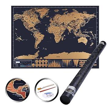 世界地図 ポスター 世界 スクラッチマップ●世界マップ 国名 首都名入り 英語 地理 壁飾り プレゼントに おしゃれ Scratch Map  専用BOX付
