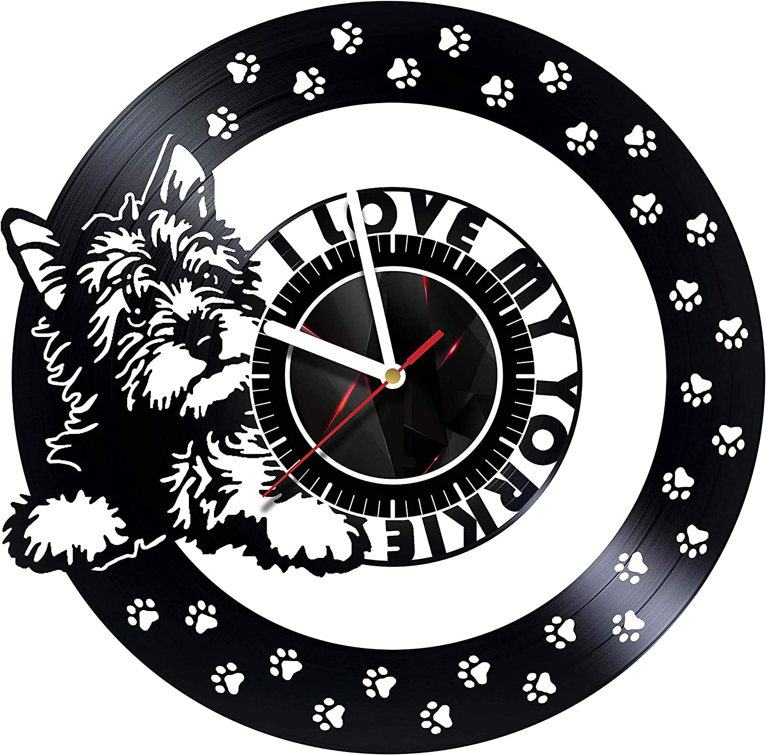 Yorkshire Terrier Vinyl Record Wall Clock Decor Handmade 6014