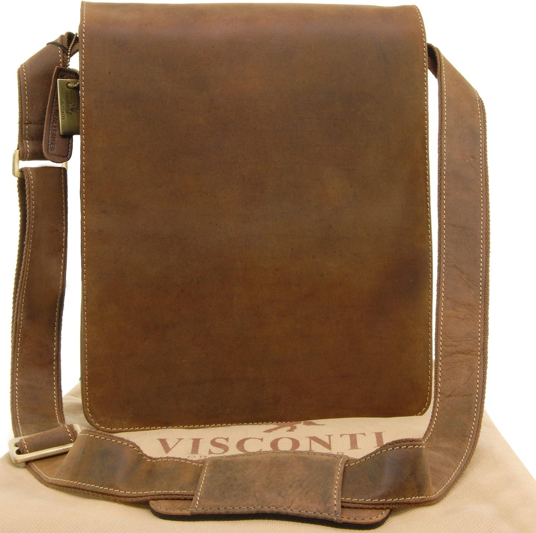 Bolso tipo mensajero con organizador de piel, marca y referencia Visconti 18410 Jasper Marrón marrón
