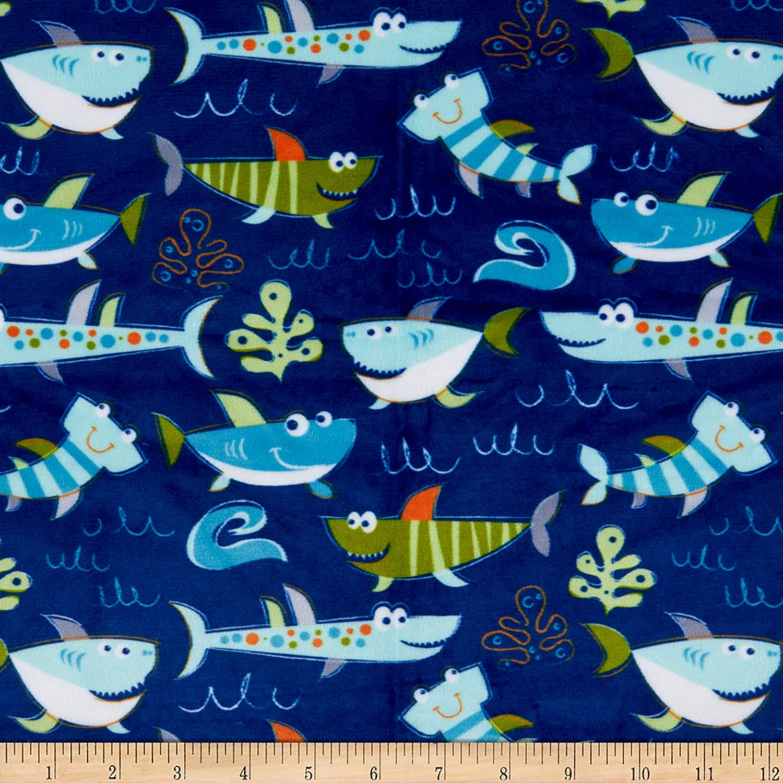 Exclusive Shannon Studio Digital Minky Cuddle Sharkies Sea Fabric by the Yard