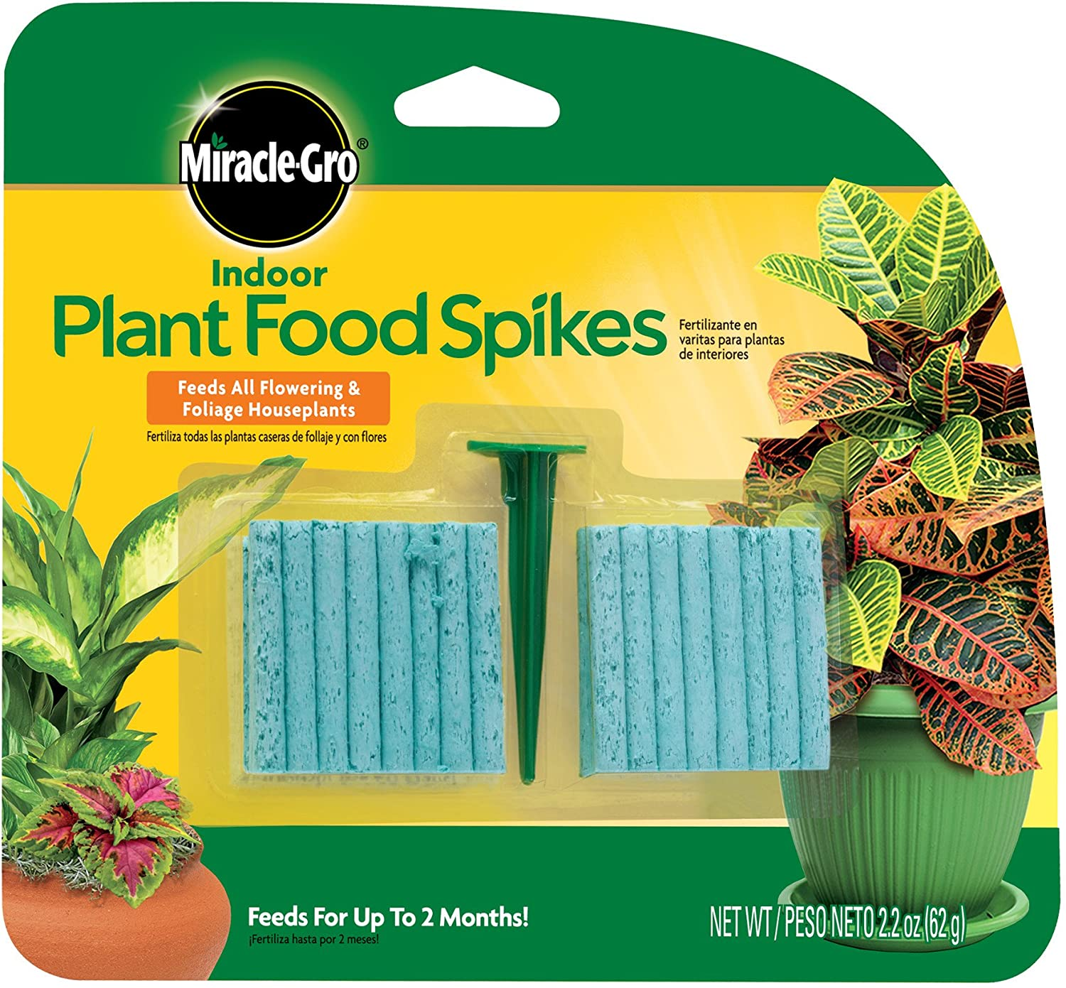 Miracle-Gro Indoor Plant Food Spikes, Includes 48 Spikes - Continuous Feeding for all Flowering and Foliage Houseplants - NPK 6-12-6, 1 Pack of 48 Spikes : Fertilizers : Garden & Outdoor