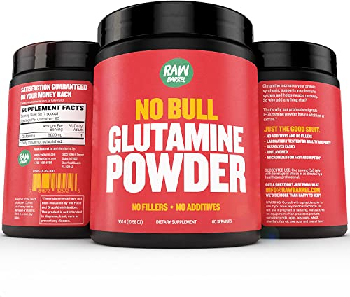 Glutamine Powder – Pure, Unflavored and Micronized L-Glutamine Amino Acid Supplement – 300g, 10.5oz, 60 Servings – Non GMO, Naturally Vegan, Vegetarian Friendly and Gluten Free – by Raw Barrel
