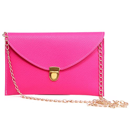 HDE Women's Envelope Clutch Purse Handbag (Hot Pink)