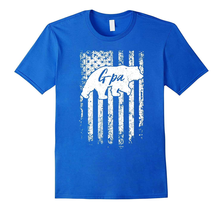 Mens American G-pa Bear Flag T-Shirt Gifts for G-pa-TH