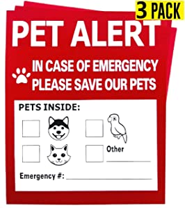 Pet Alert Safety Fire Rescue Sticker,in Case of Fire Notify Rescue Personnel to Save Pets