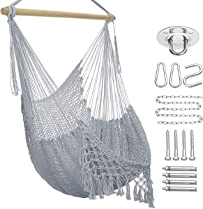 Hammock Chair Macrame Swing,Large Hanging Chair with Hardware Kits,Cotton Rope Swing Chair for Indoor,Outdoor Garden Yard (Grey)