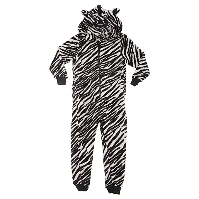 Pijama de una pieza / mono / onesie con diseño de cebra y capucha para niños