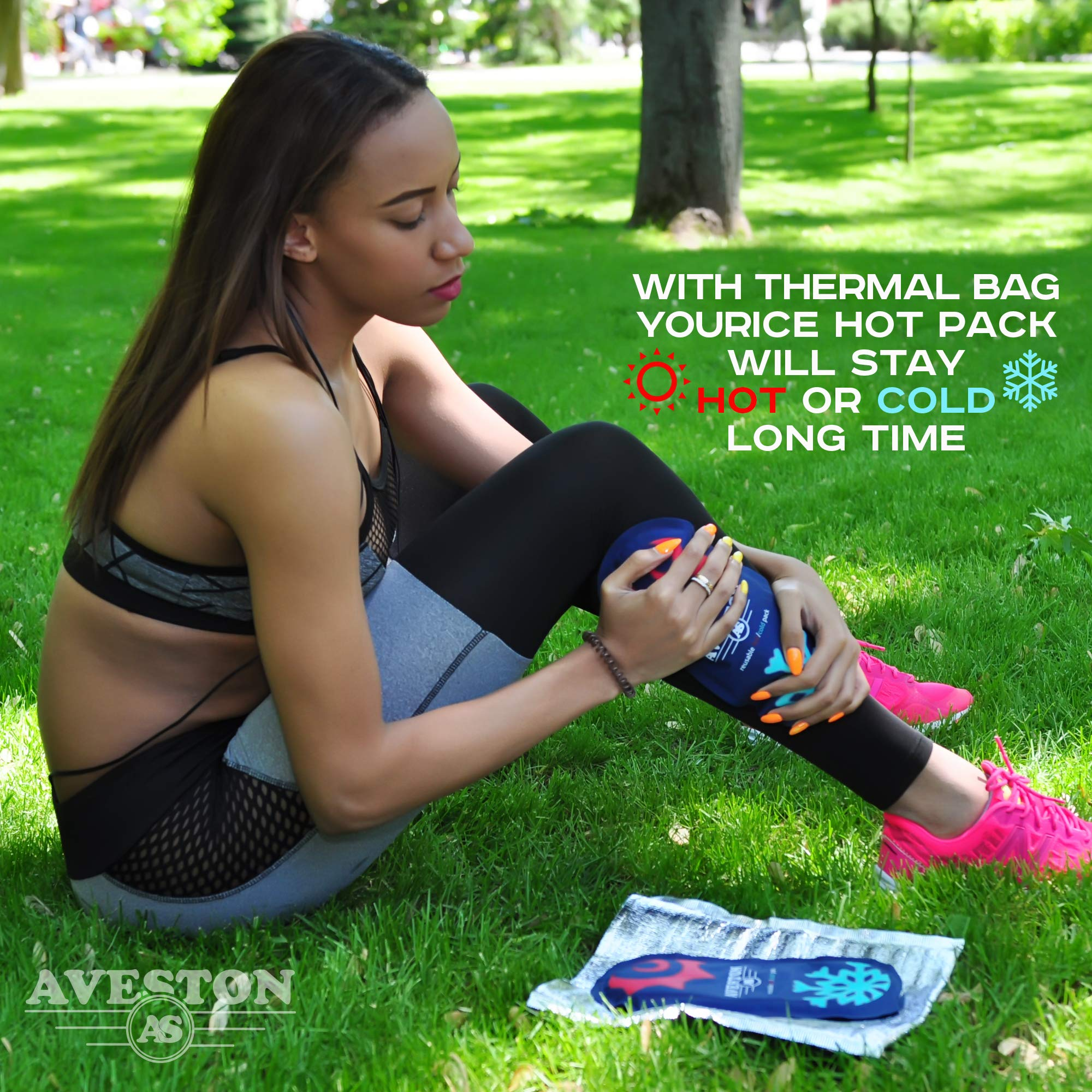 AVESTON Ice Gel Cold Pack for Injuries – Reusable Flexible 2 Ice Packs Set for Knee Ankle Back Shoulder Neck Hot Cold Therapy Compress for Women Men + Free Thermal Bag by AVESTON (Image #9)
