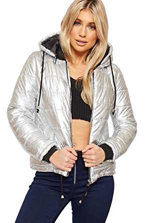b5a7ff436 WearAll Women's Metallic Padded Cropped Short Hooded Jacket Ladies ...