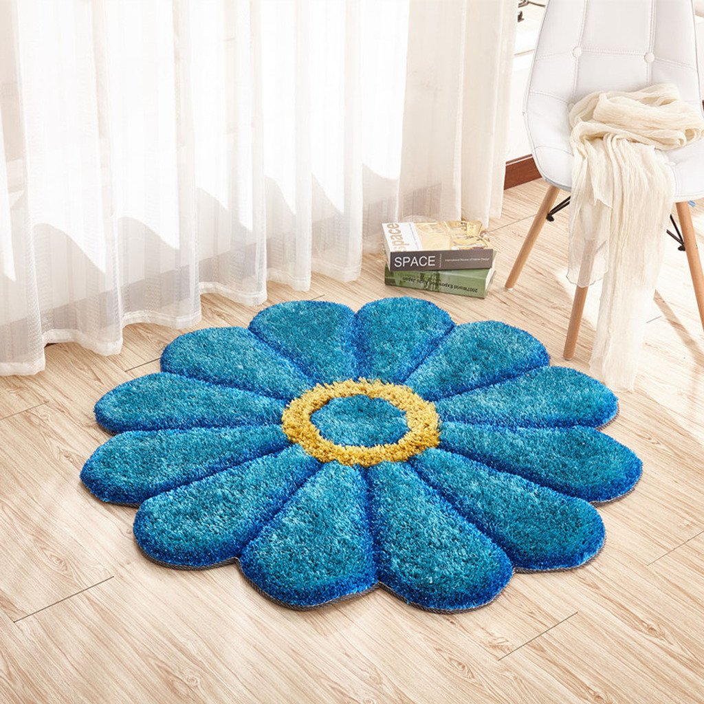 MAXYOYO Round Rug Circle Rugs Sunflower Floral Rug Daisy Bedroom Decor, Blue Carpet Rug Fluffy Rug Living Room/Bedroom Shaggy Room Rug Thicken Room Carpet Diameter 2.6ft