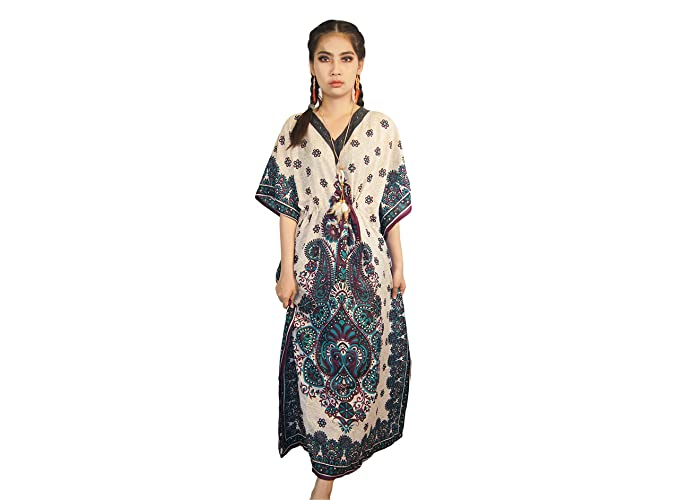 dc15d2224a1 TPK Women s Long Kaftan African Print Casual V-Neck Bat Sleeves Loose Maxi Dashiki  Dress ... (no.1) at Amazon Women s Clothing store