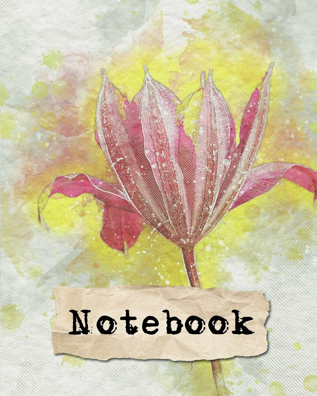 Notebook: 110 Lined Journal Pages/Notebook/Diary/8x10/Watercolor Red Flower ebook