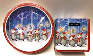 Sturdy Christmas Paper Plates and Christmas Napkins Set Cute Marching Penguins Theme & Amazon.com: Sturdy Christmas Paper Plates and Christmas Napkins Set ...