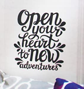 Living Room Wall Sticker | Open Your Heart Inspirational Quote | DIY Self Sticking | Creative Decal | Bedroom Peel and Stick