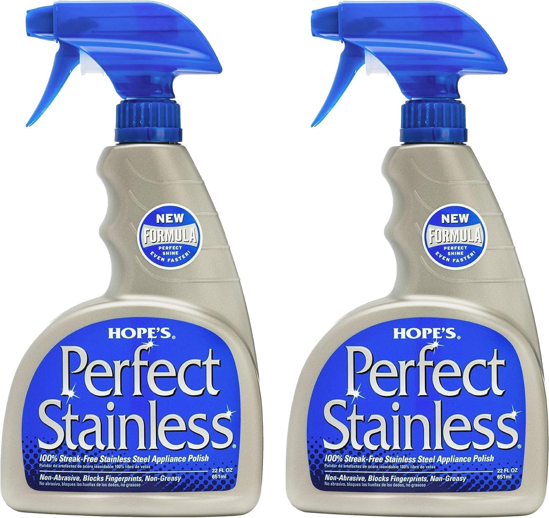 HOPE'S Perfect Stainless Steel Cleaner 22-Ounce, Streak-Free Self-Polishing Formula, Blocks Fingerprints, Pack of 2, 2 Pack