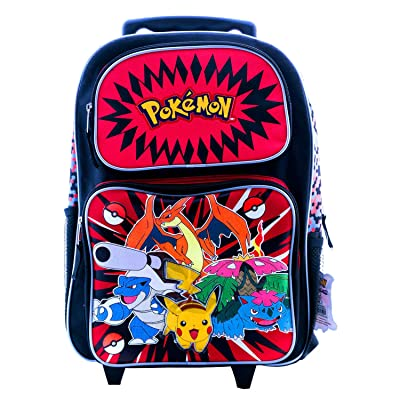 "Pokemon 16"" Red and Black School Rolling Backpack 
