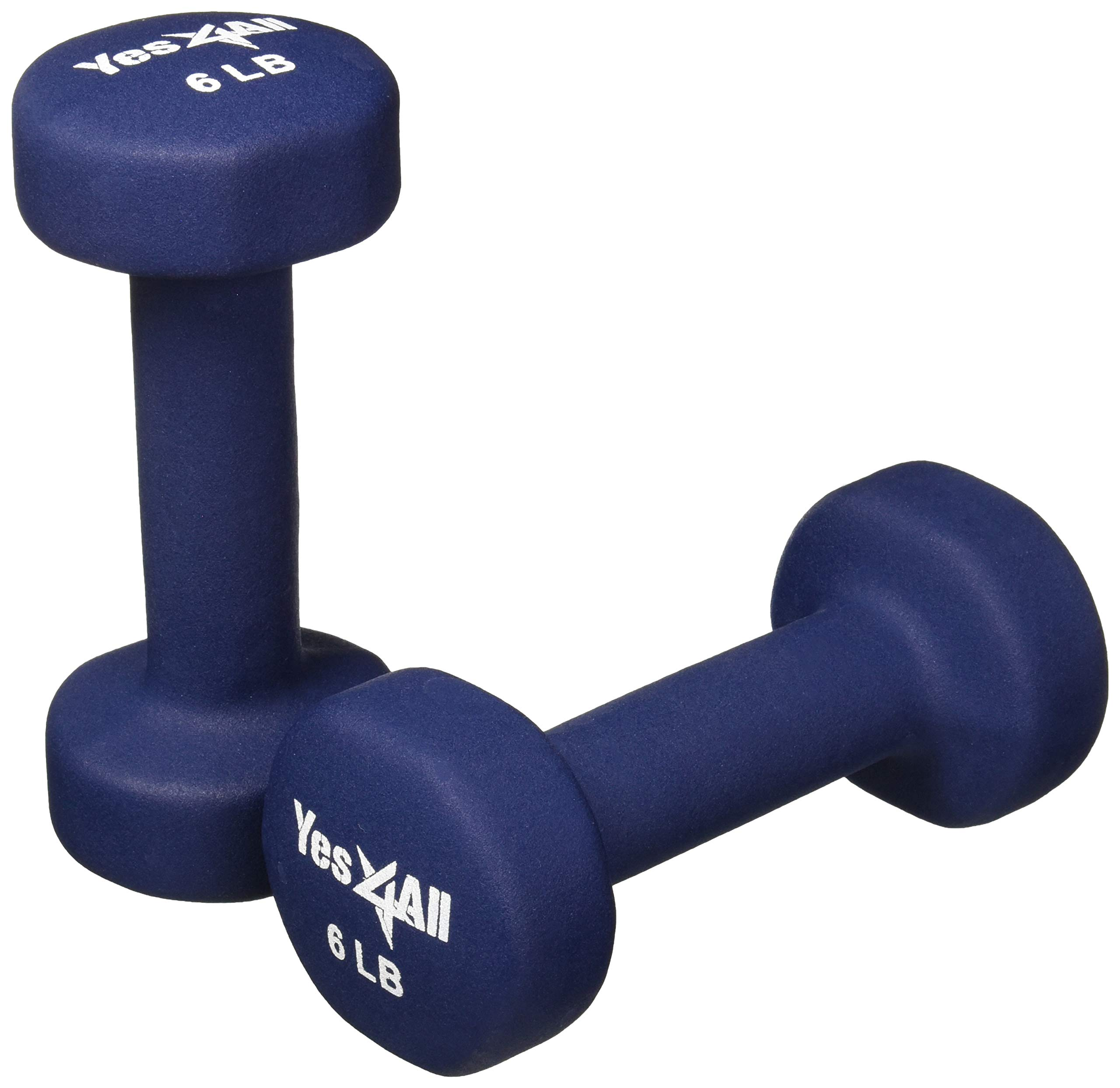 Yes4All 3 lbs Dumbbells Neoprene with Non Slip Grip - Great for Total Body Workout - Total Weight: 6 lbs (Set of 2)