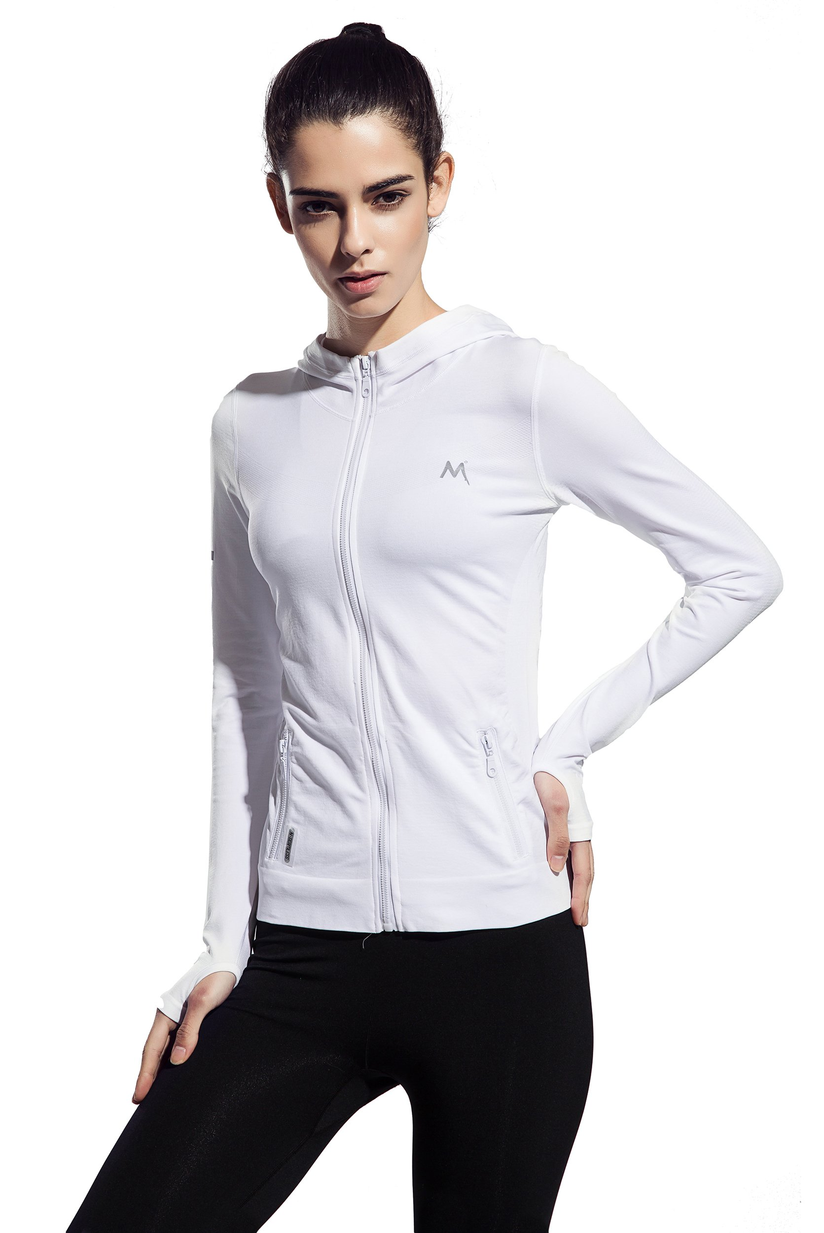 Women's Stretchy Workout Dri-Fit Hooded Jacket (White, l)