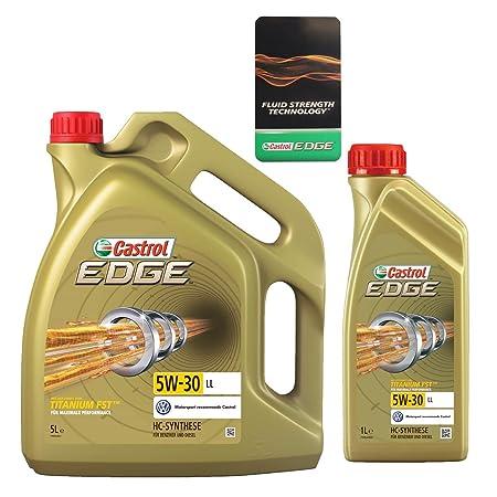 Aceite de motor de la marca Castrol Edge Titanium FSTTM, 6 litros, 5W-30 LL (1x5 lts + 1x1 lt): Amazon.es: Coche y moto