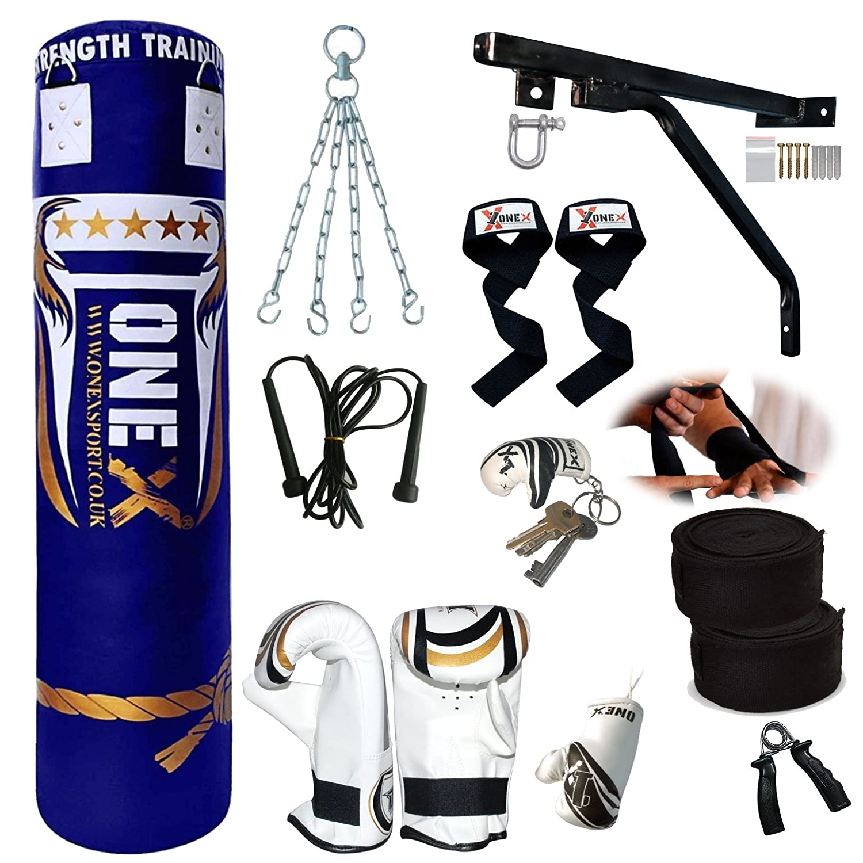 Gloves Bracket NEW 3-4-5 FT Filled Heavy Punch Bag Buyer Build Set Chains