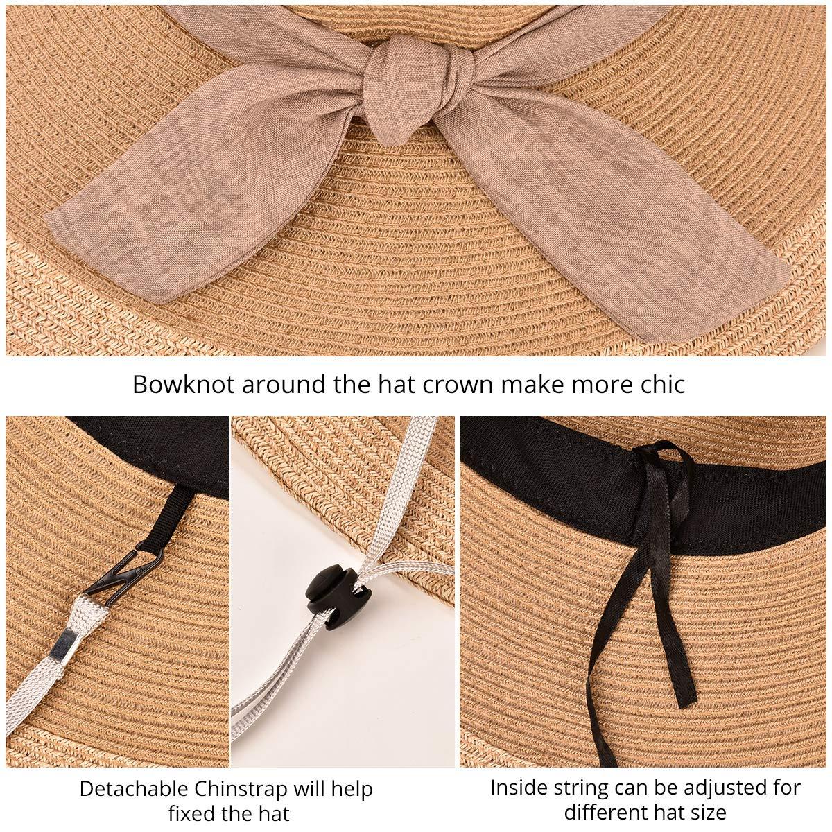 SOMALER Women Floppy Sun Hat Summer Wide Brim Beach Cap Packable Cotton Straw Hat for Travel
