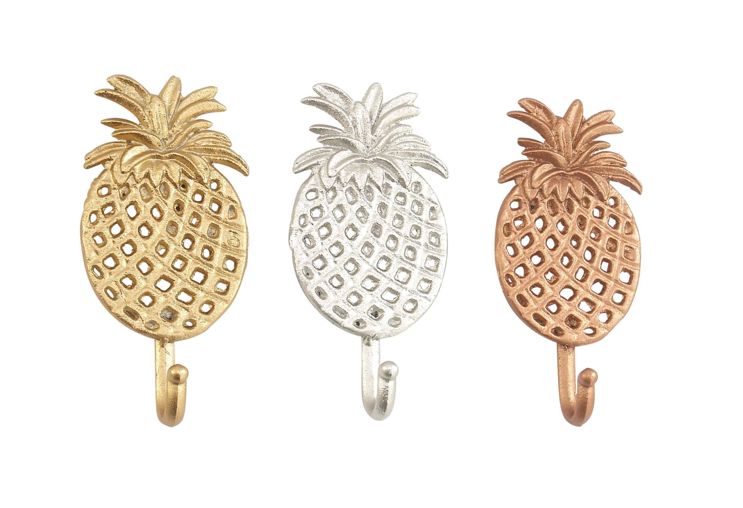 Deco 79 59420 Metallic Pineapple-Inspired Wall Hooks (Set of 3), Gold/Silver/Bronze