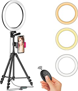 """12"""" LED Selfie Ring Light with Tripod Stand & Cellphone Holder for Live Stream/Makeup/YouTube Video, Dimmable Beauty Ringlight for iPhone Android Phone, Color Temperature 3000K-6000K, 162Bulbs, Remote"""