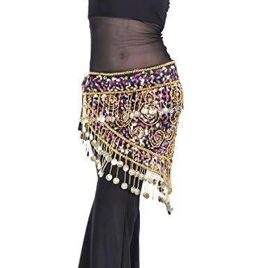 Amazon.c: BellyLady Belly Dance Gold Coins Costume Hip scarf ...