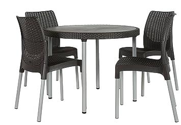 Keter Jersey 4 Seater Rattan Outdoor Garden Furniture Dining Set   Graphite
