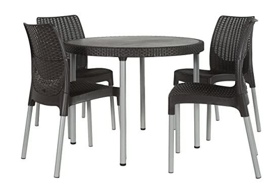 keter jersey 4 seater rattan outdoor garden furniture dining set graphite