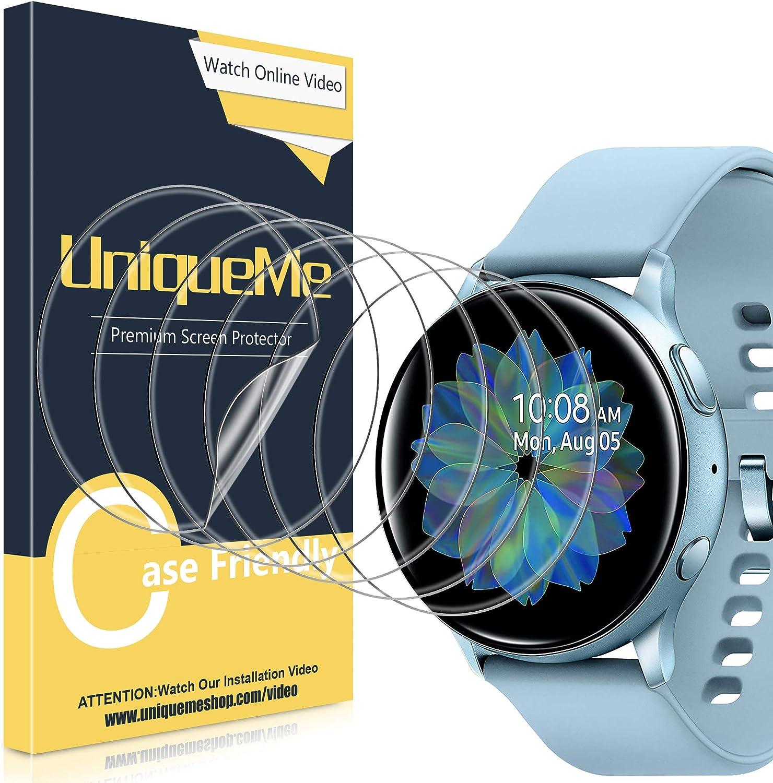 UniqueMe [6Pack] Protector de Pantalla para Samsung Galaxy Watch Active 2 44mm, película Transparente de Burbuja de TPU Huella Digital Disponible Compatible con Samsung Galaxy Watch Active 2 44mm