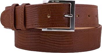 9e815f63 El Presidente - Men's Cognac Lizard Skin Western Belt Silver Buckle